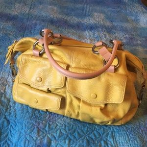 Yellow leather satchel purse, Hype